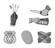 Robbery attack, fingerprint, police officer`s badge, pickpockets.Crime set collection icons in monochrome style vector. Symbol stock illustration Royalty Free Stock Photography