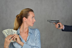 Robbery business woman Stock Photos