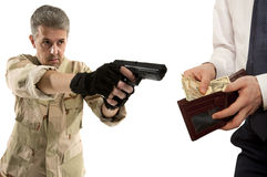 Robbery by businessman isolated Royalty Free Stock Images