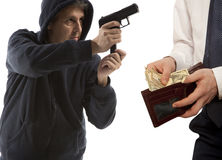 Robbery by businessman isolated. On white background Stock Photography