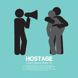 Robbery, Hostage And Policeman Graphic Symbol. Vector Illustration Stock Photos