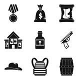 Robbery icons set, simple style. Robbery icons set. Simple set of 9 robbery vector icons for web isolated on white background Stock Photos