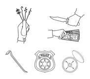 Robbery, picks, a police officer`s badge, a crowbar.Crime set collection icons in outline style vector symbol stock. Robbery, picks, a police officer`s badge, a Stock Photography