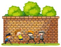 Robbery scene with police and criminals. Illustration Stock Images