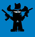 Robbery silhouette. Vector illustration of robber with revolver Stock Image
