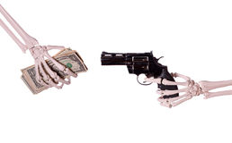 Robbery - skeleton hand with gun. On white stock images