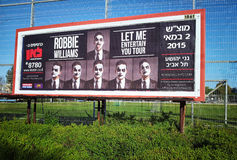 Robbie Williams concert billboard in Hebrew stock photo