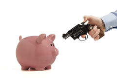 Robbing the piggy bank Stock Photo