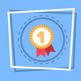 Robbon With Medal Icon Best Prize Award Web Button. Flat Vector Illustration Stock Image