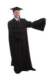 In robe. Education background: serious man in a academic gown Stock Photos