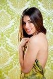 Robe arrière sexy de fille indienne asiatique de brunette Images stock