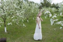 Robe blanche de port de belle fille blonde de l'adolescence avec les klaxons o de cerfs communs Image libre de droits