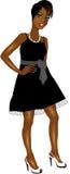 Robe blanche noire de femme de couleur illustration libre de droits
