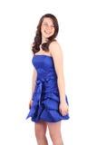 Robe bleue et un sourire Photos stock