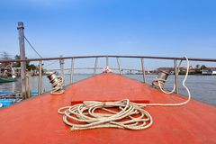 Robe on boat deck. Moored near estury Stock Images