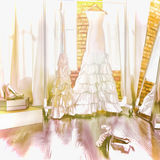 Robe de la jeune mariée Dans une cabine d'essayage Images libres de droits