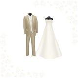Robe de mariage et costume des hommes bruns Images libres de droits