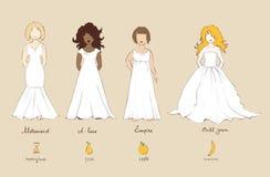 Robe de mariage et types femelles de chiffres illustration stock