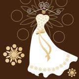 Robe de mariage moderne avec des contacts traditionnels Photographie stock