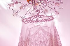 Robe de mariage pendant d'une garde-robe reflétée Photo libre de droits