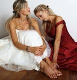 Robe de mariage rouge et blanche Image libre de droits