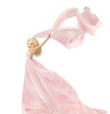 Robe de mode de beauté de femme, fille dans la robe en soie ondulant sur le vent Photographie stock