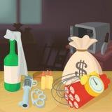 Robe el concepto criminal del dinero, estilo de la historieta ilustración del vector