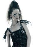 Robe en soie d'été de noir de mode de femme Images libres de droits