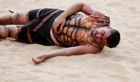 Robe jordanienne d'hommes en tant que soldat romain Photographie stock libre de droits