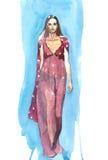 Robe rouge à un arrière-plan bleu Photo libre de droits