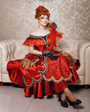 Robe rouge de jeune fille Photo stock