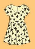 Robe tirée par la main d'illustration avec des étoiles Oeuvre d'art créative d'encre Usage réel de dessin de vecteur Objet d'isol illustration stock