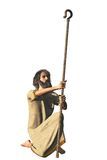 Robed bearded hermit with shepherd crook Stock Images