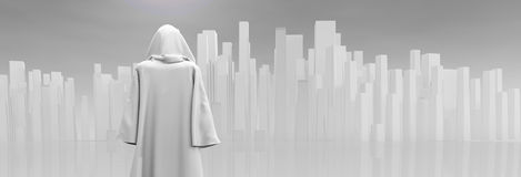 Robed Traveler before the city Royalty Free Stock Photo
