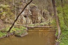 Robersky potoka zatoczka w wiosny Peklo dolinie czeski regionu turystycznego Machuv kraj Fotografia Royalty Free