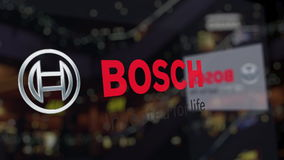 Robert Bosch GmbH logo on the glass against blurred business center. Editorial 3D rendering Stock Photography