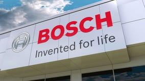 Robert Bosch GmbH logo on the modern building facade. Editorial 3D rendering Stock Photography
