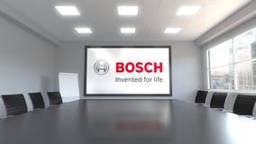 Robert Bosch-GmbHlogo auf dem Schirm in einem Konferenzzimmer Redaktionelle Animation 3D vektor abbildung