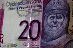 Robert the Bruce Banknote, Scotland. Scottish banknote from the Clydesdale Bank for twenty pounds showing the national hero Robert the Bruce, King Robert I of Stock Image