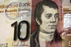 Robert Burns na Szkockim banknocie Zdjęcia Royalty Free