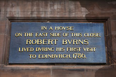 Robert Burns Plaque in Edinburgh Stockbilder