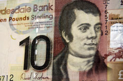 Robert Burns on Scottish Banknote. The famous Scottish poet Robert Burns on the front of a ten pound note from the Clydesdale Bank in Scotland Royalty Free Stock Photos