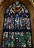 Robert Burns stained glass window inside St Giles cathedral, Edinburgh. Edinburgh, Scotland - August 26, 2018: Religious colorful stained glass window inside St royalty free stock images