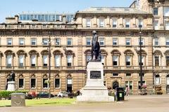 Robert Burns-standbeeld in George Square van Glasgow, Schotland, het UK e stock foto