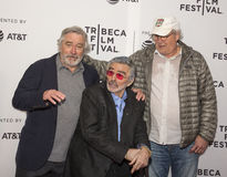 Robert DeNiro, Burt Reynolds, and Chevy Chase. arrives on the red carpet for the premiere of `Dog Years` at the 2017 Tribeca Film Festival, at the Cinepolis Royalty Free Stock Image