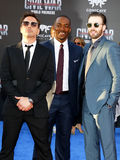 Robert Downey Jr., Anthony Mackie and Chris Evans. At the World premiere of 'Captain America: Civil War' held at the Dolby Theatre in Hollywood, USA on April 12 Royalty Free Stock Images