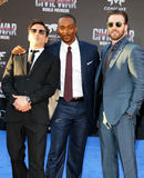 Robert Downey Jr., Anthony Mackie and Chris Evans. At the World premiere of 'Captain America: Civil War' held at the Dolby Theatre in Hollywood, USA on April 12 Stock Image