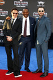 Robert Downey Jr., Anthony Mackie and Chris Evans. At the World premiere of 'Captain America: Civil War' held at the Dolby Theatre in Hollywood, USA on April 12 Stock Images