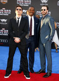 Robert Downey Jr., Anthony Mackie and Chris Evans. At the World premiere of 'Captain America: Civil War' held at the Dolby Theatre in Hollywood, USA on April 12 Royalty Free Stock Photography