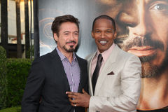 Jamie Foxx, Robert Downey Jr stock afbeeldingen